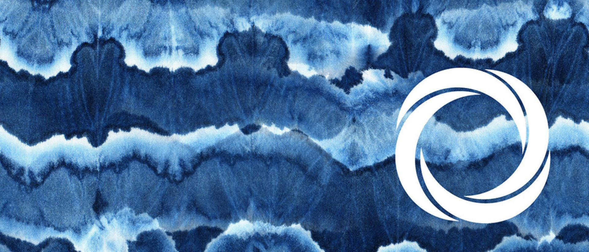 Abstract Blue Wave pattern with Arts Council of Wales logo
