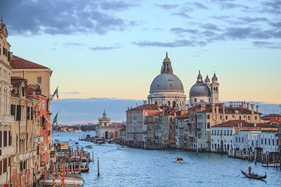 Landscape image showing the canals and buildings of Venice