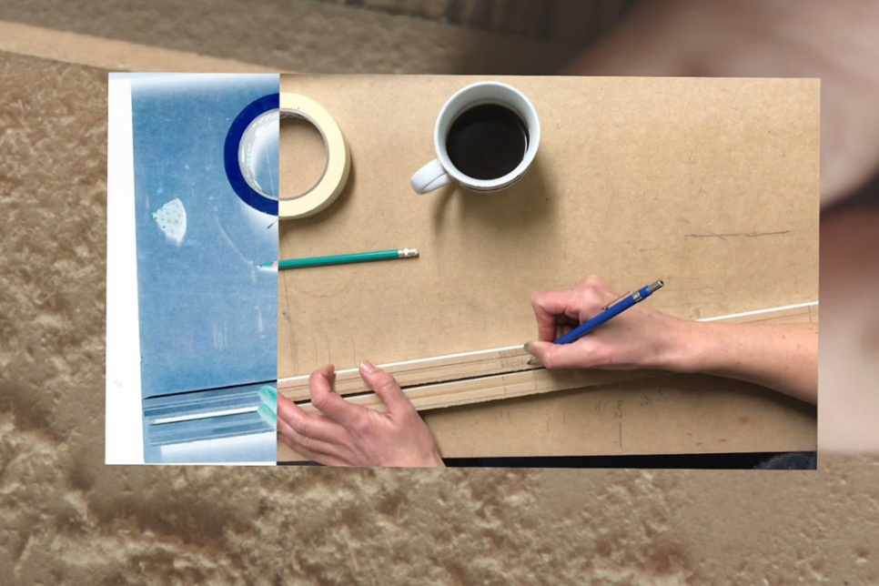 Image collage showing wooden sticks and a cup of coffee