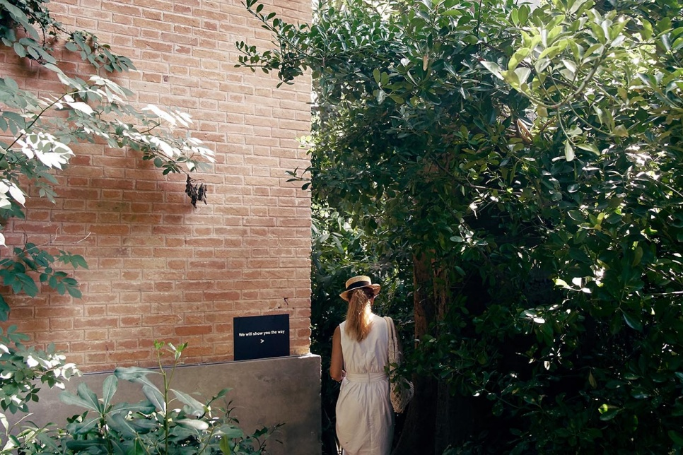Image of a woman walking between a building and trees