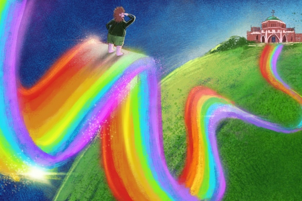 Illustration of a person walking on a rainbow to a Library