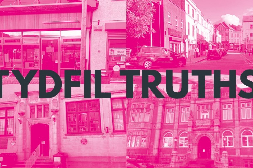Tydfil Truths poster with images of buildings in Merthyr Tydfil