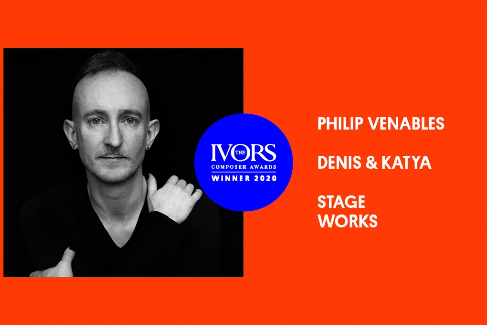 image of Philip Venables with The Ivors Composer Awards 2020 logo
