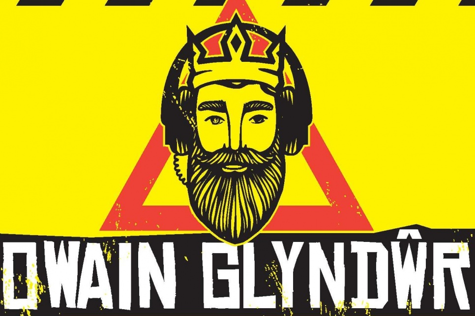 Owain Glyndwr poster in yellow, black and red
